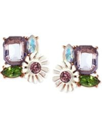 Betsey Johnson Rose Gold-Tone Faceted Bead And Flower Button Stud Earrings - Lyst