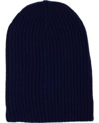 Barneys New York Blue Cashmere Beanie - Lyst