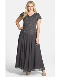 J Kara Embellished Mock Two-Piece Gown - Lyst