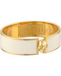 Alexander McQueen Skull Button Enamel Cuff 19Mm - Lyst