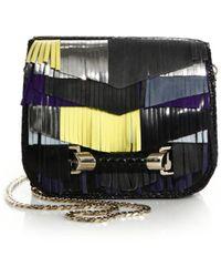 Jimmy Choo Zadie Colorblock Leather, Suede & Snakeskin Fringed Crossbody Bag - Lyst
