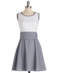 ModCloth Make A Good Pinpoint Dress in Grey - Lyst