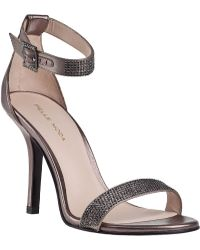 Pelle Moda Kacey Evening Sandal Pewter Leather - Lyst