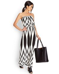 Forever 21 Abstract Zigzag Maxi Dress - Lyst
