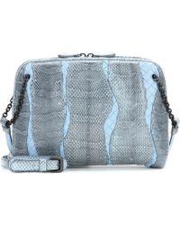 Bottega Veneta Snakeskin and Intrecciato Leather Shoulder Bag - Lyst