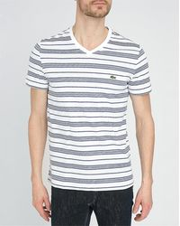 Lacoste White Striped T-Shirt - Lyst