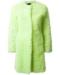 Charlott Lamb Fur Collarless Coat - Lyst