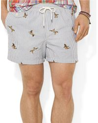 Polo Ralph Lauren Traveler Embroidered Seersucker Swim Shorts - Lyst