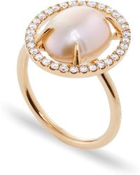 Jordan Alexander - Mo Exclusive: 18k Rose Gold Diamond And Pearl Slice Ring - Lyst