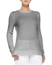 Michael Kors Zigzag Crewneck Cotton-Cashmere Sweater - Lyst