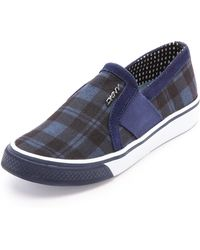 DKNY Barrow Plaid Slip On Sneakers Blue - Lyst