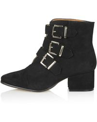Topshop Anda Triple Buckle Boots - Lyst