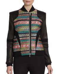 Prabal Gurung Tweed-Paneled Leather Bomber Jacket - Lyst