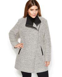 Calvin Klein Plus Size Asymmetrical Fauxleathertrim Woolblend Coat - Lyst