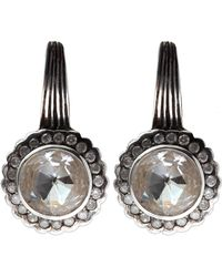 Stephen Dweck Silver Rock Crystal And Diamond Scallop Earrings