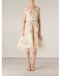 Oscar de la Renta Bow Embroidered Skater Dress - Lyst