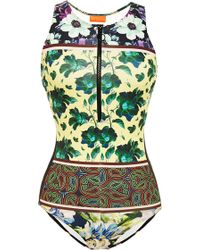 Clover Canyon Floral Collage Zip Front Swimsuit - Lyst