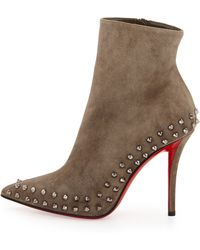 Christian Louboutin Willetta Suede Red Sole Bootie - Lyst