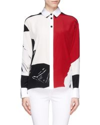 Prabal Gurung Colour Block Rose Print Shirt - Lyst