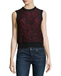 Michael Kors Cashmere Lace-front Shell - Lyst