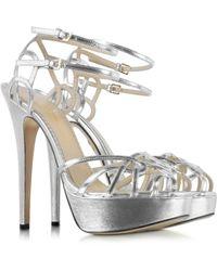 Charlotte Olympia Ursula Silver Metallic Platform Sandal - Lyst