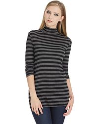 DKNY Heathered Striped Turtleneck Top - Lyst