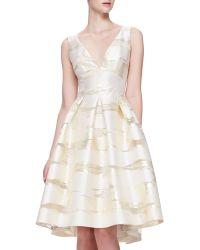 Lela Rose Taffeta Burnout Full-Skirt Dress - Lyst