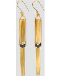 A Peace Treaty - Dangling Fringe Earrings Black & Gold - Lyst