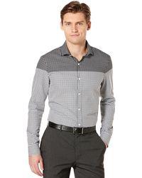 Perry Ellis Long Sleeve Slim Fit Shirt - Lyst