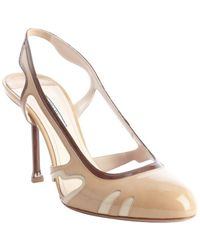 Prada Cream and Cocoa Patent Leather Cutout Slingback Pumps - Lyst