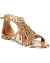 Report Signature Calin Fringe Sandals brown - Lyst