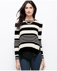 Ann Taylor Tall Striped Twoinone Sweater - Lyst