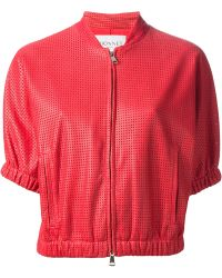 Vionnet Perforated Leather Jacket - Lyst