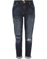 River Island Dark Wash Patched Ashley Slim Boyfriend Jeans - Lyst