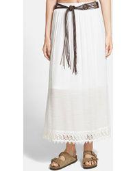 Blu Pepper - Crochet Hem Maxi Skirt - Lyst