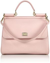 Dolce & Gabbana Sicily Large Textured Leather Top-Handle Satchel - Lyst