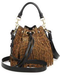 Saint Laurent Small Leopard-Print Suede Fringe Bucket Bag - Lyst