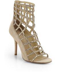 Michael Kors Cora Crystal-Embellished Suede Cage Sandals - Lyst