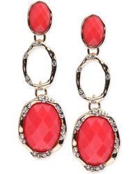 Jones New York - Gold-tone Coral Stone And Crystal Triple Drop Earrings - Lyst