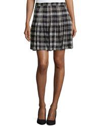 Joie Plaid High-waist Silk Skirt - Lyst