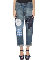 Semi-couture Isoshi Denim Jeans With Patches - Lyst