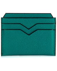 Valextra Teal Grained-leather Cardholder - Lyst