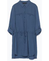 Zara Tunic With Shirt-Style Collar - Lyst