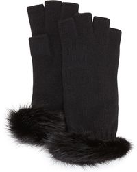 Portolano Mink-trim Fingerless Cashmere Gloves - Lyst