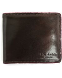 Ted Baker 2-in-1 Chocolate Leather Red Contrasting Embossed Wallet - Lyst