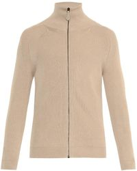 Bottega Veneta Leather-patch Cotton-blend Cardigan - Lyst