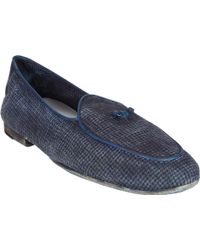 Massimo Alba Piped Houndstooth Belgian Loafers - Lyst