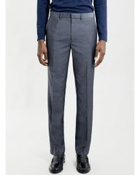 Topman Navy Textured Slim Suit Trousers - Lyst
