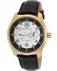 Ben Minkoff - Marshall Multi-function Black Leather White And Black Dial Gold-tone Ss - Lyst
