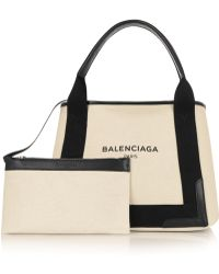 Balenciaga Cabas S Leather-Trimmed Cotton-Canvas Tote - Lyst
